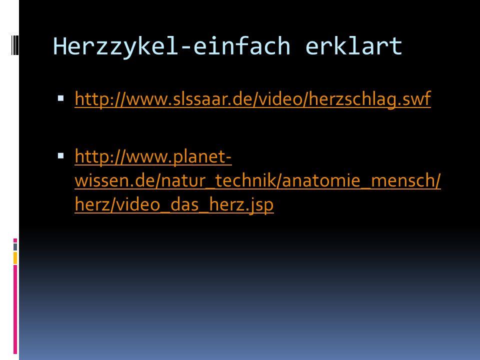 Herzzykel-einfach erklart http://www.slssaar.de/video/herzschlag.swf http://www.planet- wissen.de/natur_technik/anatomie_mensch/ herz/video_das_herz.j