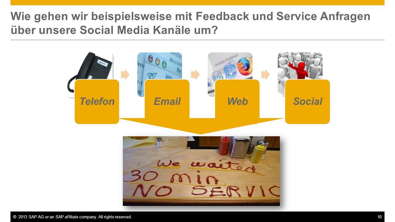 ©2013 SAP AG or an SAP affiliate company. All rights reserved.10 Wie gehen wir beispielsweise mit Feedback und Service Anfragen über unsere Social Med