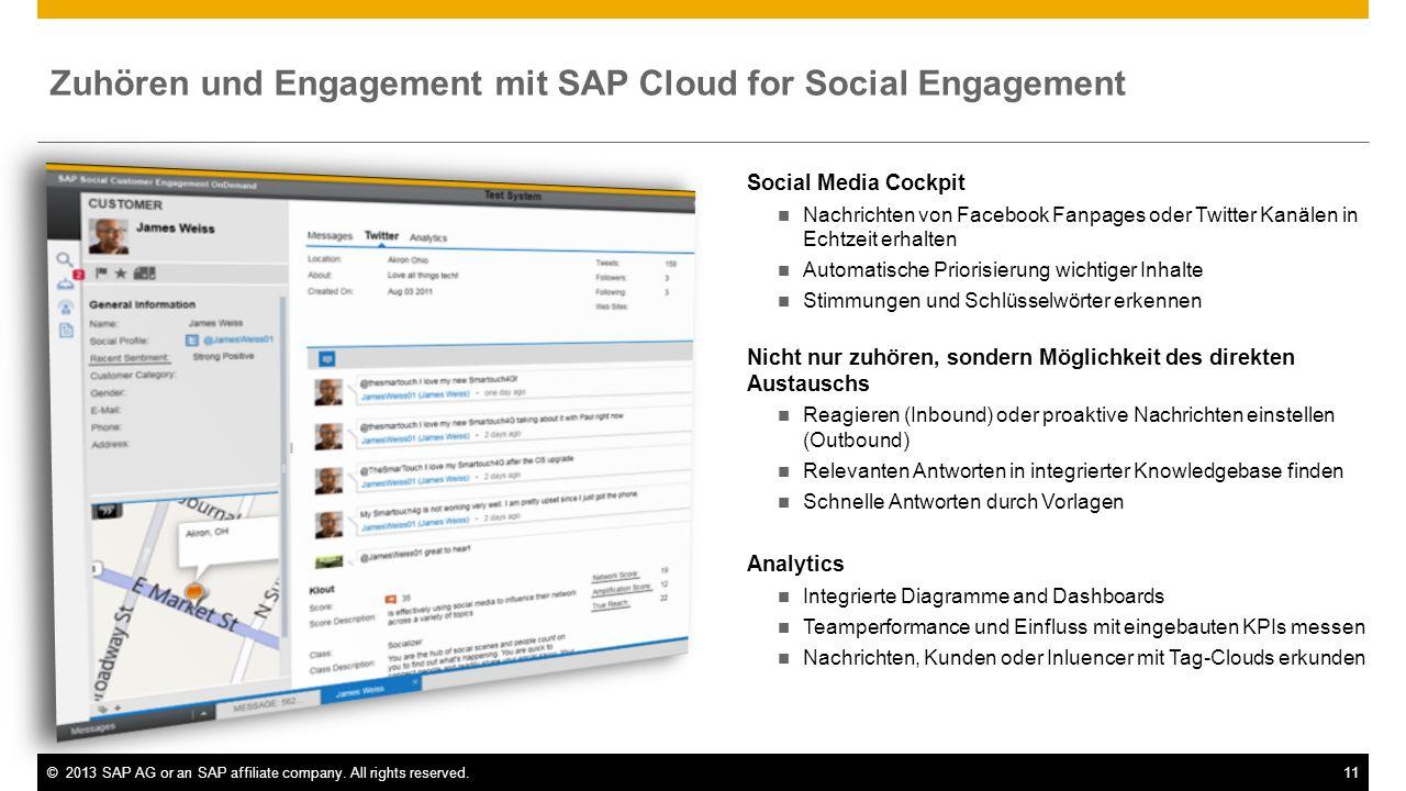 ©2013 SAP AG or an SAP affiliate company. All rights reserved.11 Social Media Cockpit Nachrichten von Facebook Fanpages oder Twitter Kanälen in Echtze