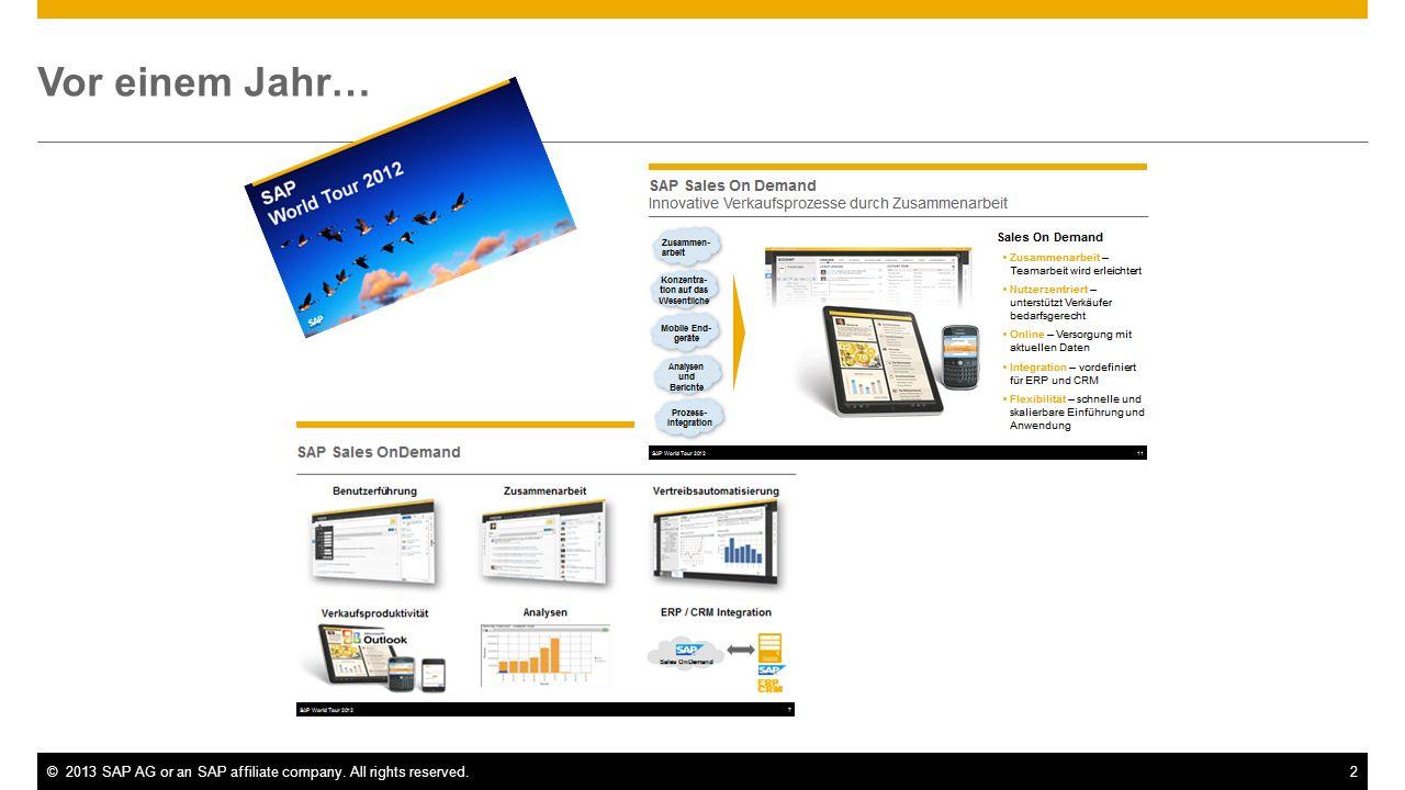 ©2013 SAP AG or an SAP affiliate company. All rights reserved.2 Vor einem Jahr…