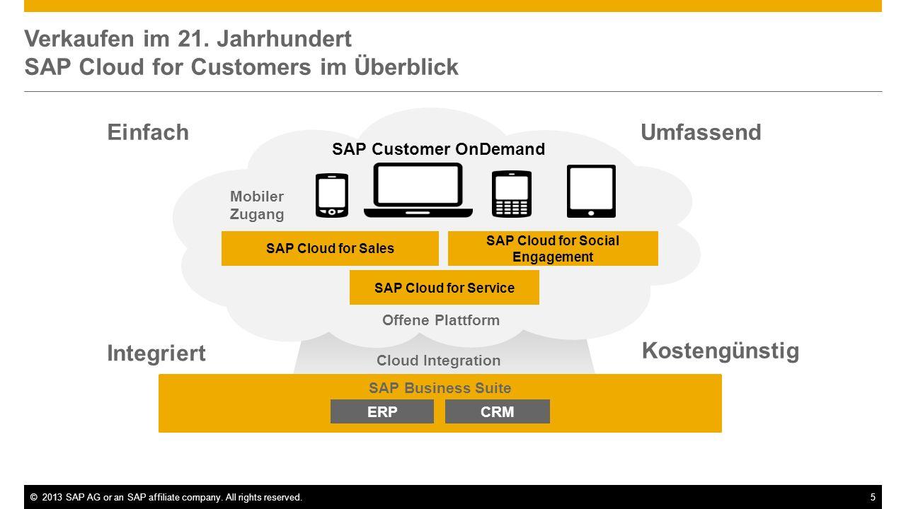 ©2013 SAP AG or an SAP affiliate company. All rights reserved.5 Verkaufen im 21. Jahrhundert SAP Cloud for Customers im Überblick SAP Business Suite M