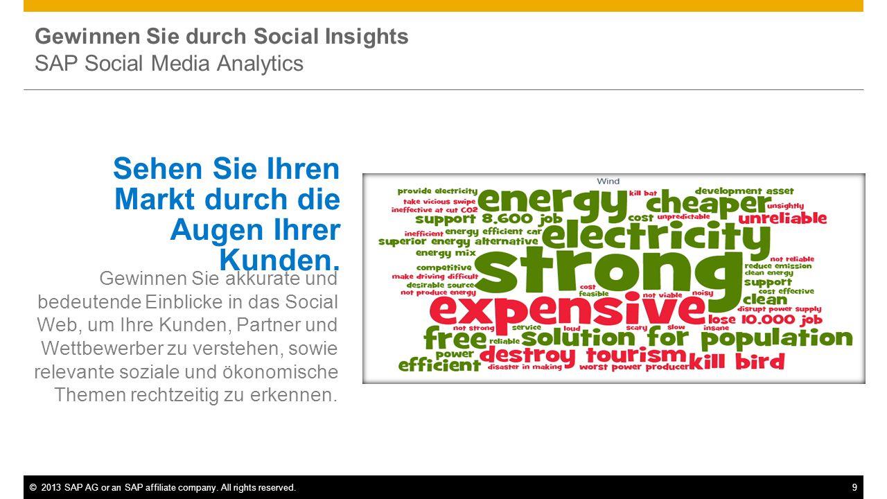 ©2013 SAP AG or an SAP affiliate company. All rights reserved.9 Gewinnen Sie durch Social Insights SAP Social Media Analytics Sehen Sie Ihren Markt du