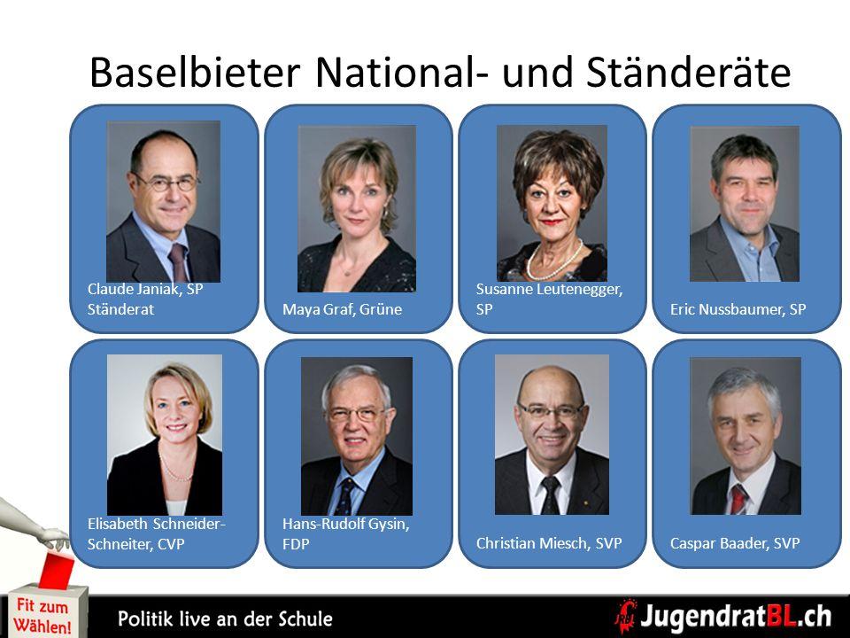 Caspar Baader, SVPChristian Miesch, SVP Hans-Rudolf Gysin, FDP Elisabeth Schneider- Schneiter, CVP Eric Nussbaumer, SP Susanne Leutenegger, SPMaya Gra