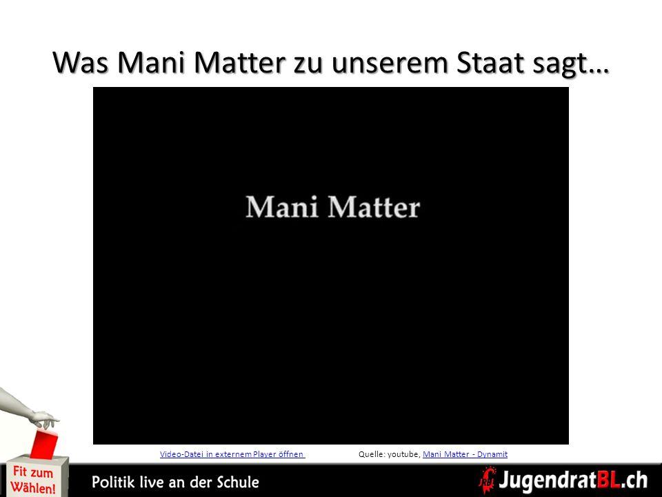 Was Mani Matter zu unserem Staat sagt… Video-Datei in externem Player öffnen Video-Datei in externem Player öffnen Quelle: youtube, Mani Matter - Dyna