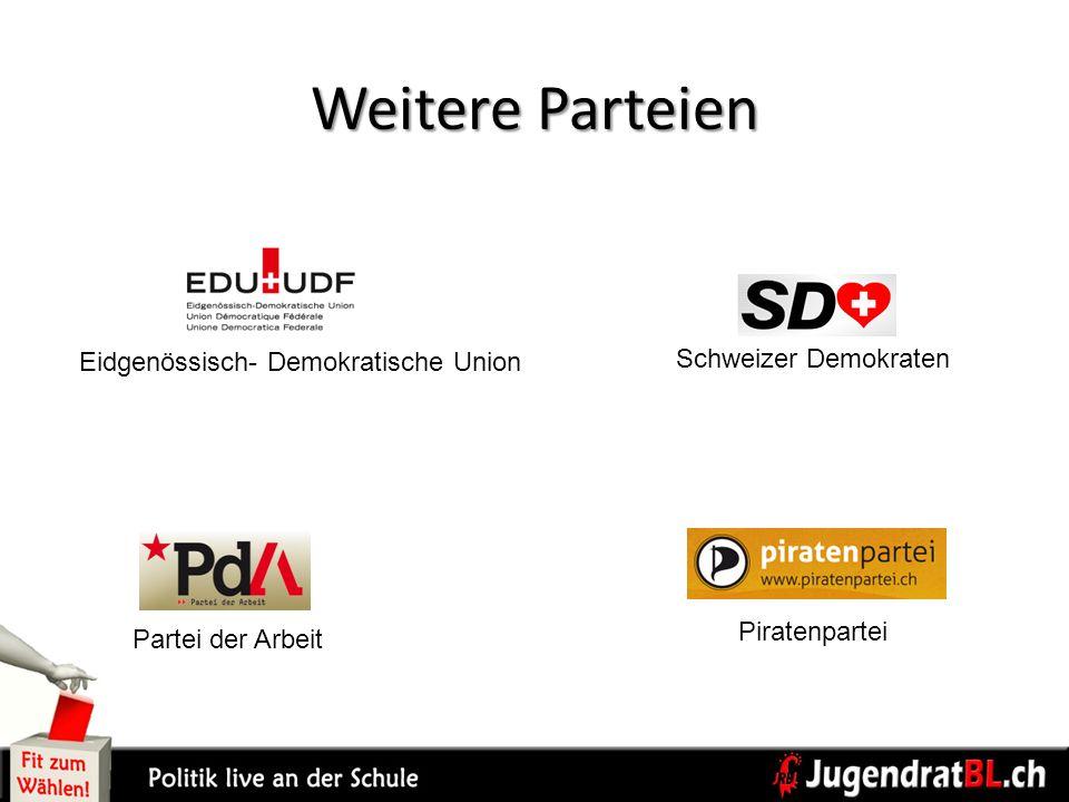 Weitere Parteien Schweizer Demokraten Piratenpartei Partei der Arbeit Eidgenössisch- Demokratische Union