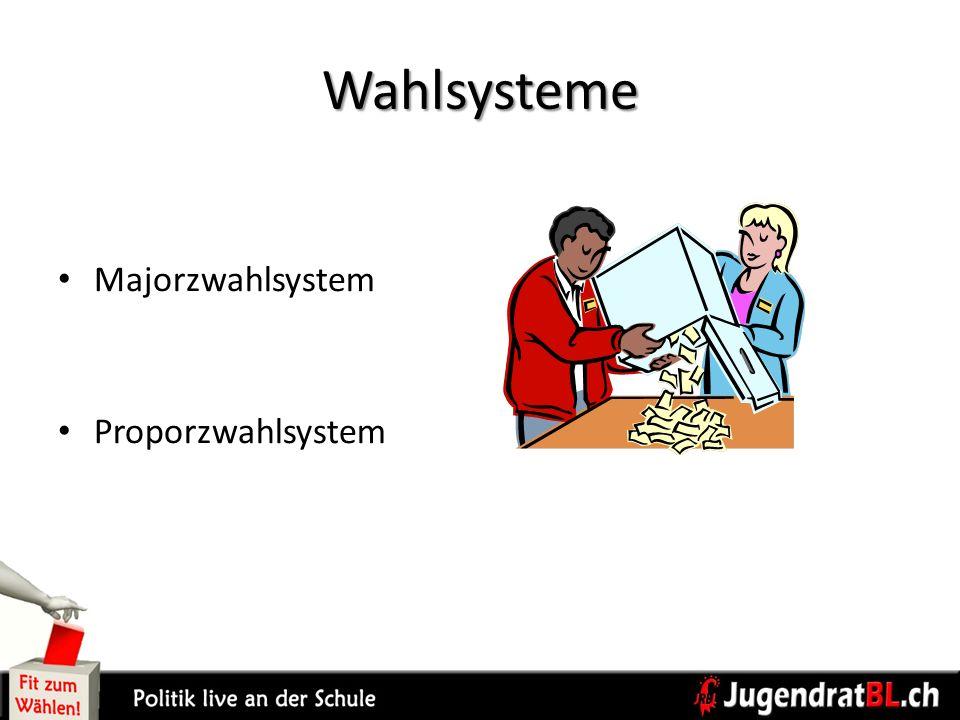Wahlsysteme Majorzwahlsystem Proporzwahlsystem