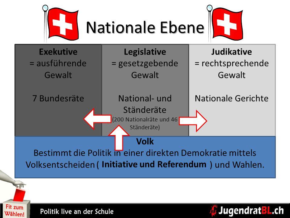 Nationale Ebene Volk Bestimmt die Politik in einer direkten Demokratie mittels Volksentscheiden ( ) und Wahlen. Exekutive = ausführende Gewalt 7 Bunde
