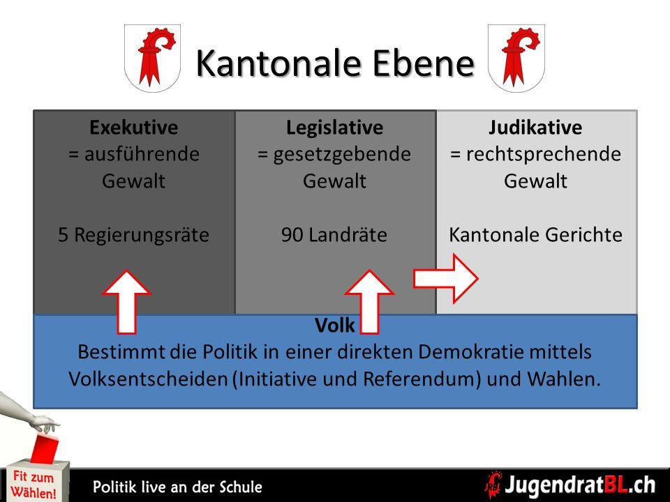 Kantonale Ebene Volk Bestimmt die Politik in einer direkten Demokratie mittels Volksentscheiden (Initiative und Referendum) und Wahlen. Exekutive = au