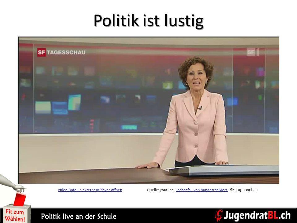 Politik ist lustig Video-Datei in externem Player öffnenVideo-Datei in externem Player öffnenQuelle: youtube, Lachanfall von Bundesrat Merz, SF Tagess