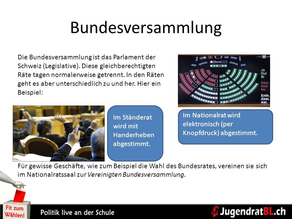 Bundesversammlung Die Bundesversammlung ist das Parlament der Schweiz (Legislative). Diese gleichberechtigten Räte tagen normalerweise getrennt. In de