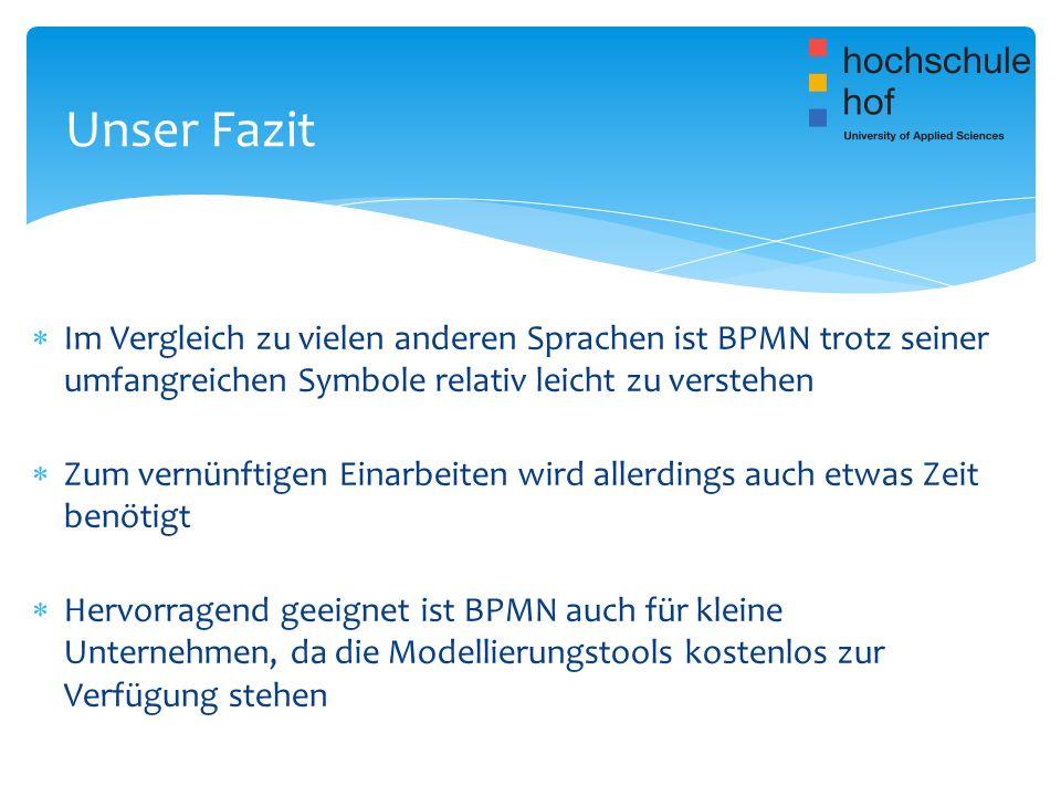 Im Vergleich zu vielen anderen Sprachen ist BPMN trotz seiner umfangreichen Symbole relativ leicht zu verstehen Zum vernünftigen Einarbeiten wird alle