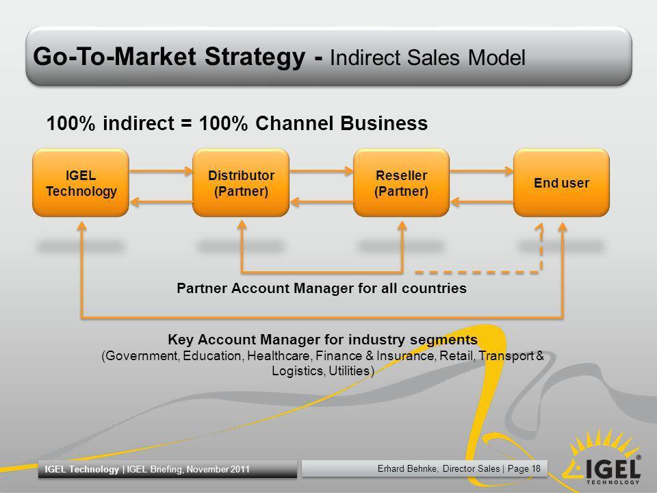 Erhard Behnke, Director Sales   Page 18 IGEL Technology   IGEL Briefing, November 2011 Go-To-Market Strategy - Indirect Sales Model IGEL Technology Di
