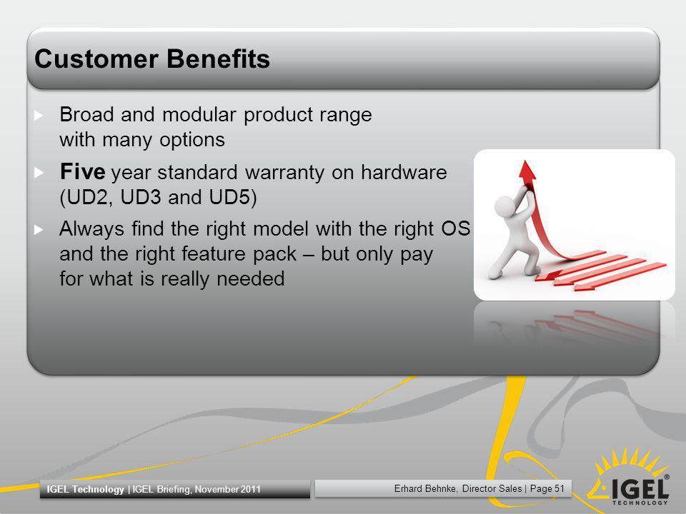 Erhard Behnke, Director Sales | Page 51 IGEL Technology | IGEL Briefing, November 2011 Customer Benefits Broad and modular product range with many opt