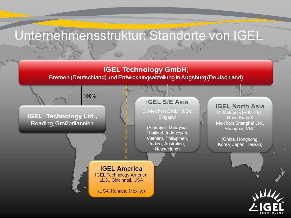 Unternehmensstruktur: Standorte von IGEL IGEL Technology GmbH, Bremen (Deutschland) und Entwicklungsabteilung in Augsburg (Deutschland) IGEL America I
