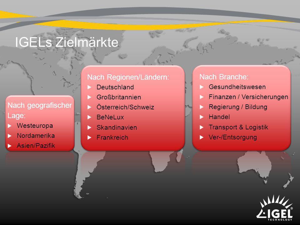 IGELs Zielmärkte Nach geografischer Lage: Westeuropa Nordamerika Asien/Pazifik Nach Regionen/Ländern: Deutschland Großbritannien Österreich/Schweiz Be