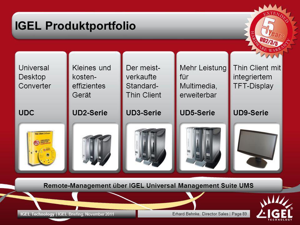 Erhard Behnke, Director Sales | Page 89 IGEL Technology | IGEL Briefing, November 2011 IGEL Produktportfolio Kleines und kosten- effizientes Gerät UD2