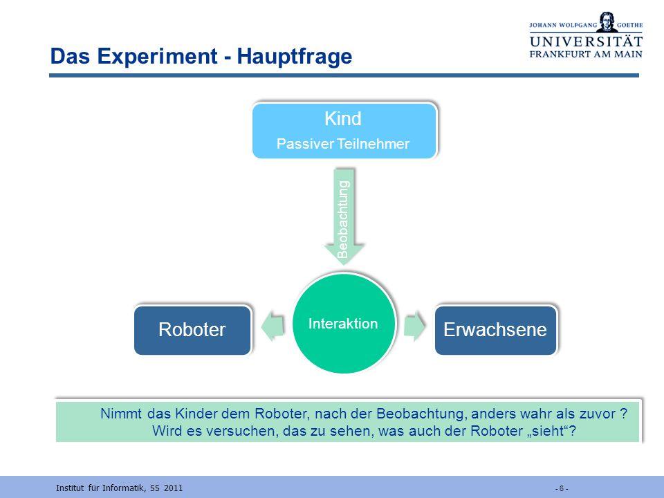 Das Experiment - Hauptfrage Institut für Informatik, SS 2011 - 6 - Interaktion Beobachtung Kind Passiver Teilnehmer Erwachsene Roboter Nimmt das Kinde