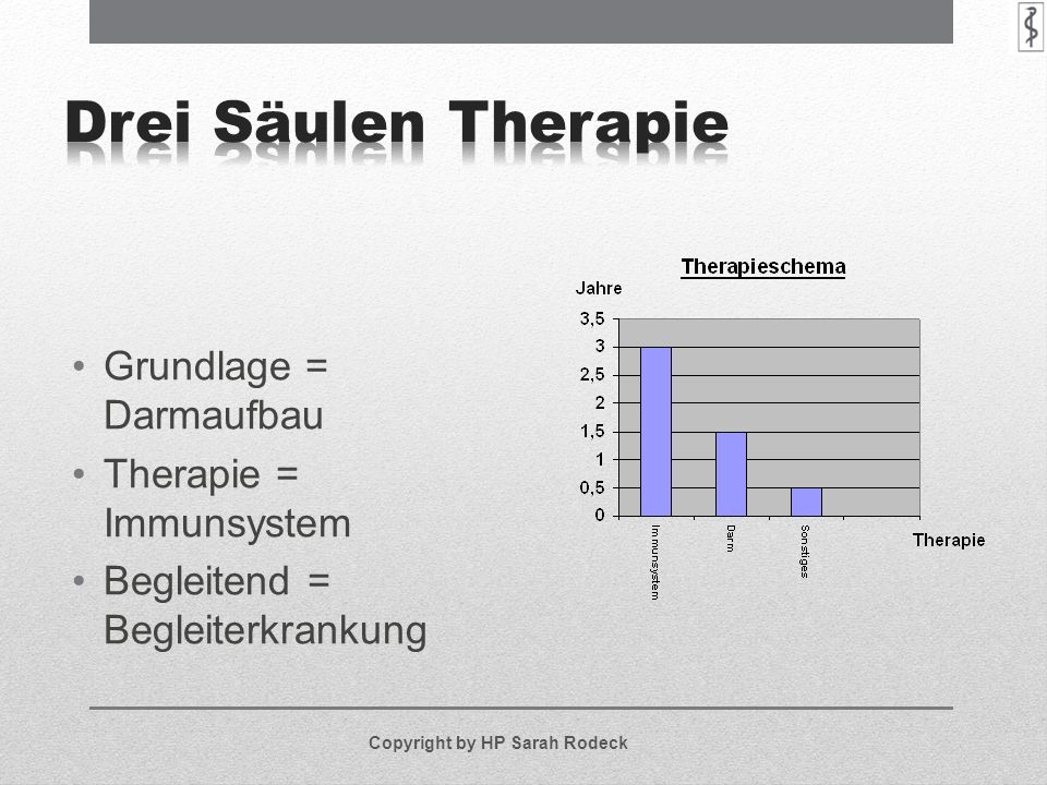 Grundlage = Darmaufbau Therapie = Immunsystem Begleitend = Begleiterkrankung Copyright by HP Sarah Rodeck