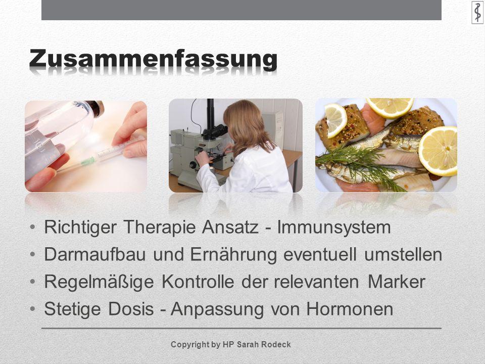Richtiger Therapie Ansatz - Immunsystem Darmaufbau und Ernährung eventuell umstellen Regelmäßige Kontrolle der relevanten Marker Stetige Dosis - Anpas