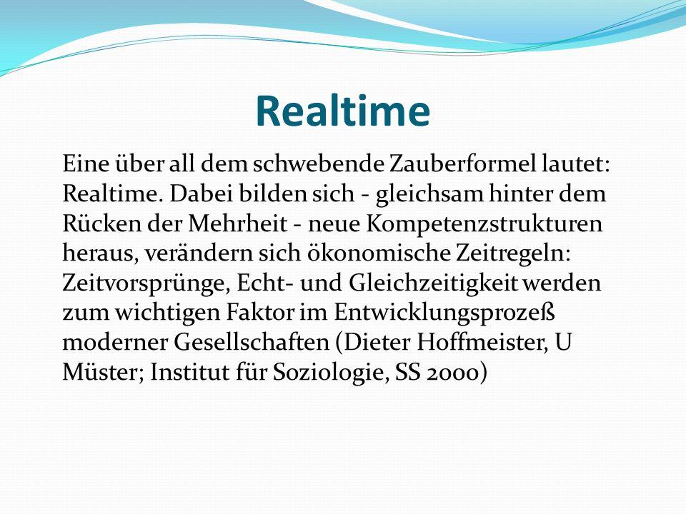 Realtime Eine über all dem schwebende Zauberformel lautet: Realtime. Dabei bilden sich - gleichsam hinter dem Rücken der Mehrheit - neue Kompetenzstru