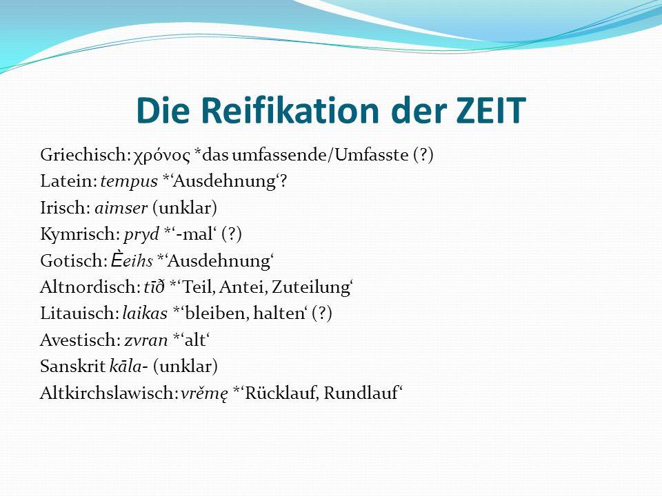 Die Reifikation der ZEIT Griechisch: χρόνος *das umfassende/Umfasste (?) Latein: tempus *Ausdehnung? Irisch: aimser (unklar) Kymrisch: pryd *-mal (?)