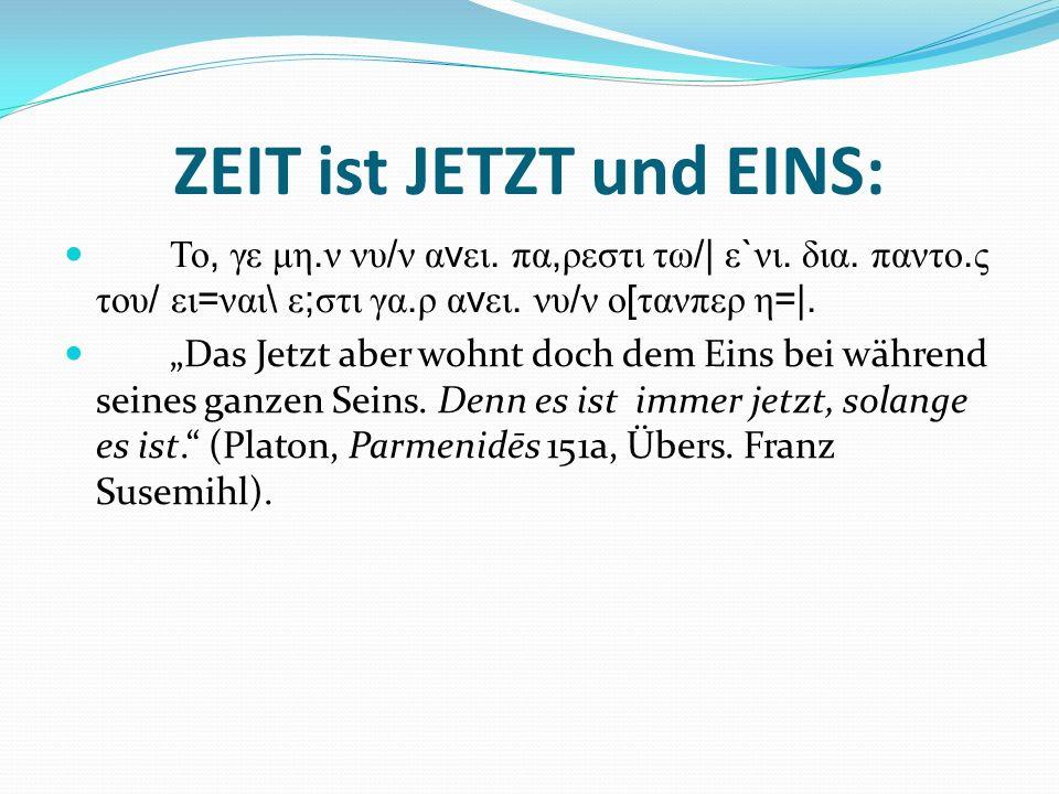 ZEIT ist JETZT und EINS: Το, γε μη. ν νυ / ν α v ει. πα, ρεστι τω /| ε ` νι. δια. παντο. ς του / ει = ναι \ ε ; στι γα. ρ α v ει. νυ / ν ο [ τανπερ η