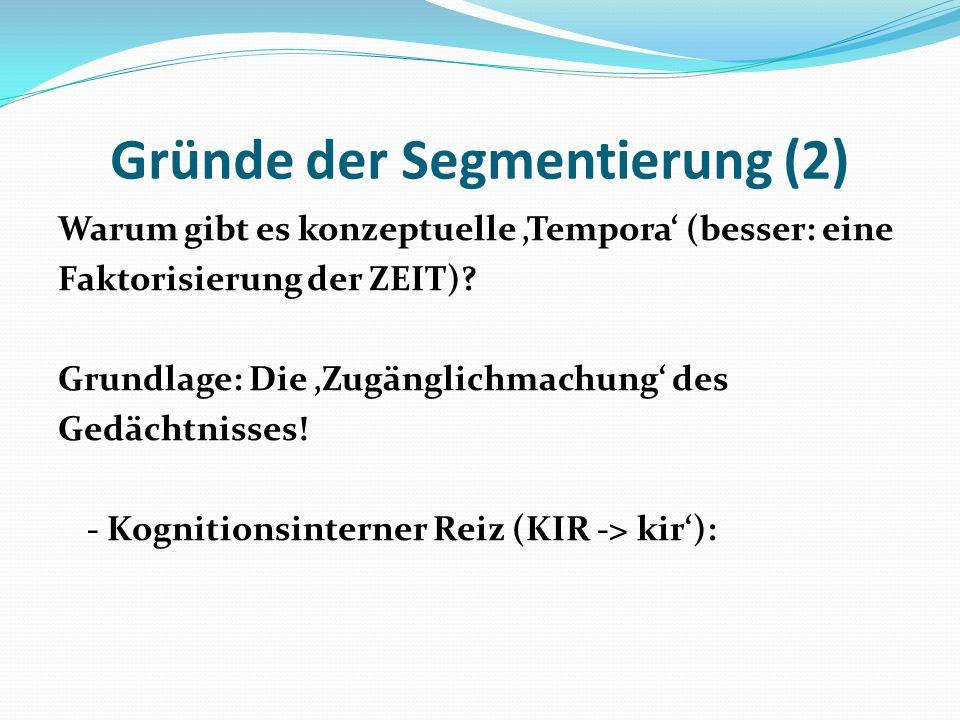 Gründe der Segmentierung (2) Warum gibt es konzeptuelle Tempora (besser: eine Faktorisierung der ZEIT)? Grundlage: Die Zugänglichmachung des Gedächtni