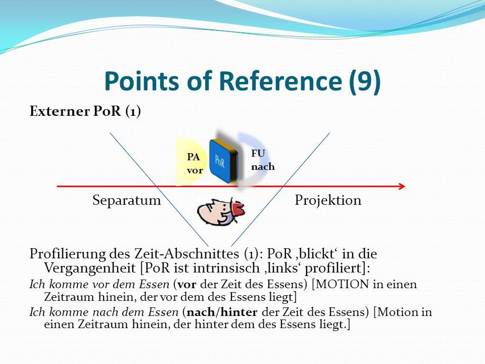 Points of Reference (9) Externer PoR (1) Separatum Projektion Profilierung des Zeit-Abschnittes (1): PoR blickt in die Vergangenheit [PoR ist intrinsi