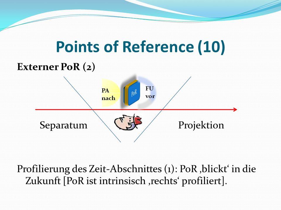 Points of Reference (10) Externer PoR (2) Separatum Projektion Profilierung des Zeit-Abschnittes (1): PoR blickt in die Zukunft [PoR ist intrinsisch r