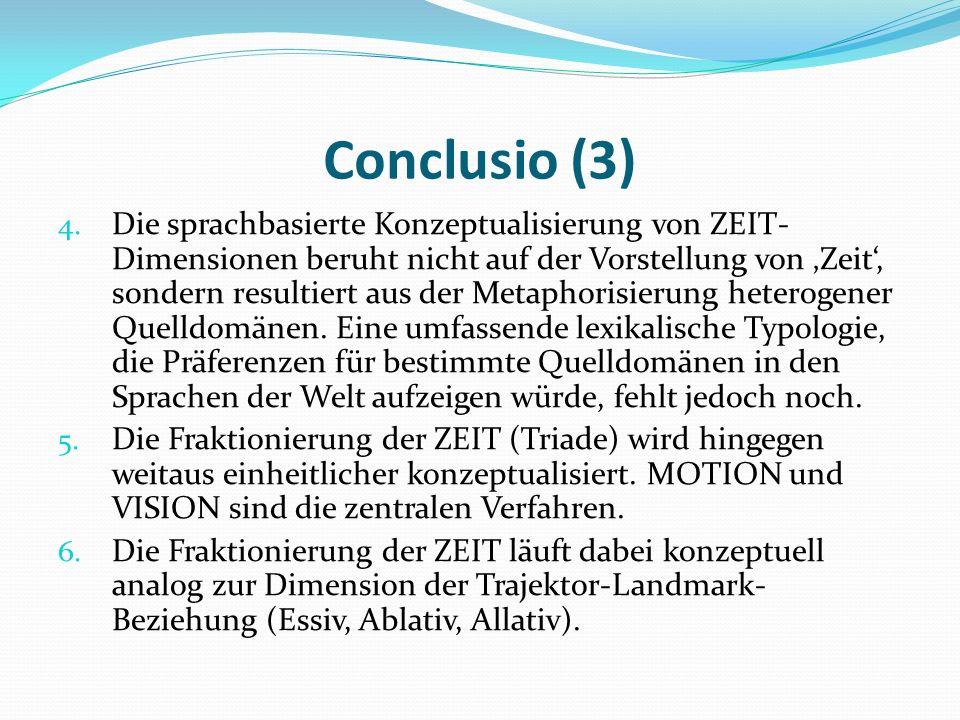 Conclusio (3) 4. Die sprachbasierte Konzeptualisierung von ZEIT- Dimensionen beruht nicht auf der Vorstellung von Zeit, sondern resultiert aus der Met