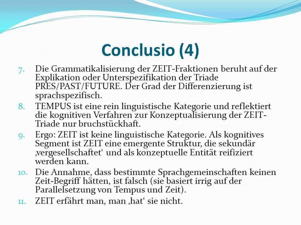 Conclusio (4) 7. Die Grammatikalisierung der ZEIT-Fraktionen beruht auf der Explikation oder Unterspezifikation der Triade PRES/PAST/FUTURE. Der Grad