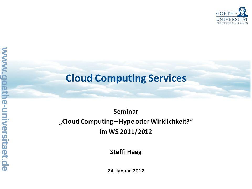 1224.01.2012 Agenda Cloud Computing Services, Steffi Haag 1Motivation Methodik der Untersuchung Literaturanalyse Fazit 2 3 4