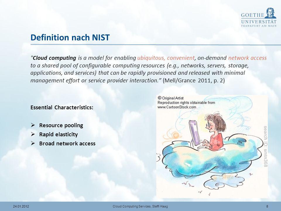1924.01.2012 Agenda Cloud Computing Services, Steffi Haag 1Motivation Methodik der Untersuchung Literaturanalyse Fazit 2 3 4 SzientometrieInhalt