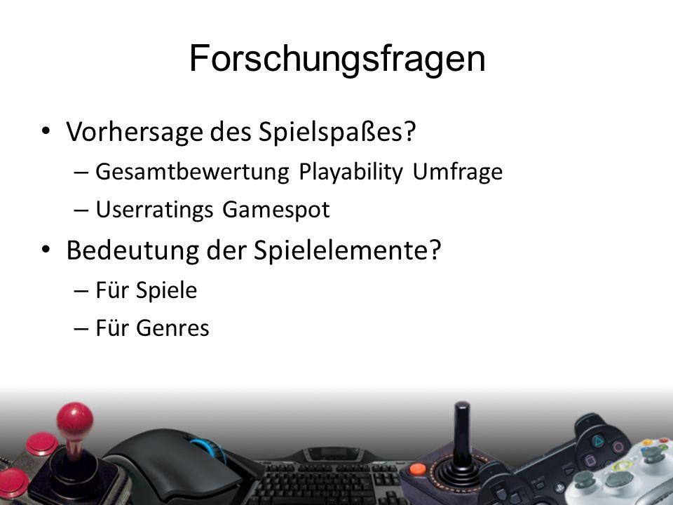 Forschungsfragen Vorhersage des Spielspaßes? – Gesamtbewertung Playability Umfrage – Userratings Gamespot Bedeutung der Spielelemente? – Für Spiele –
