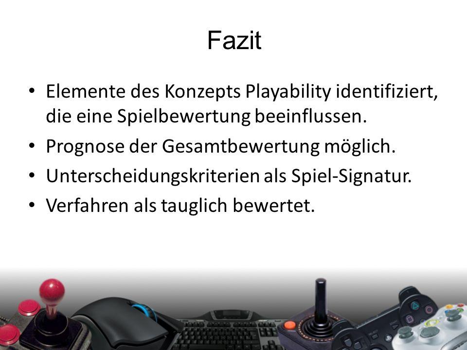 Fazit Elemente des Konzepts Playability identifiziert, die eine Spielbewertung beeinflussen. Prognose der Gesamtbewertung möglich. Unterscheidungskrit