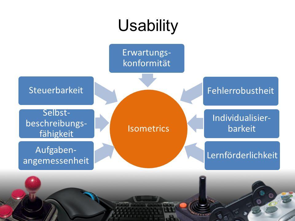 Playability Aufgaben- angemessenheit Selbst- beschreibungs- fähigkeit Steuerbarkeit Erwartungs- konformität Fehlerrobustheit Individualisier- barkeit Lernförderlichkeit Usability Isometrics Aufgaben- angemessenheit Selbst- beschreibungs- fähigkeit Steuerbarkeit Erwartungs- konformität Fehlerrobustheit Individualisier- barkeit Lernförderlichkeit
