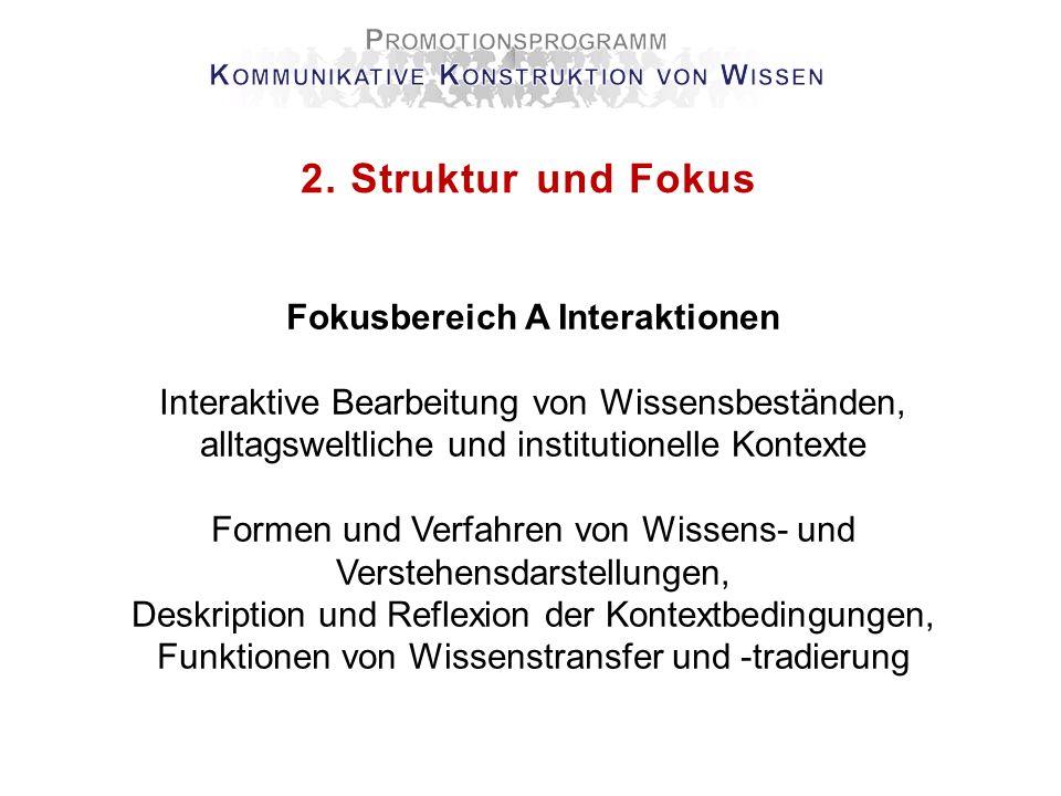 2. Struktur und Fokus Fokusbereich A Interaktionen Interaktive Bearbeitung von Wissensbeständen, alltagsweltliche und institutionelle Kontexte Formen
