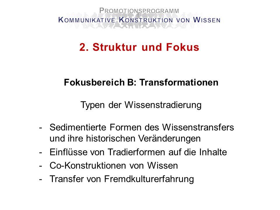 2. Struktur und Fokus Fokusbereich B: Transformationen Typen der Wissenstradierung -Sedimentierte Formen des Wissenstransfers und ihre historischen Ve