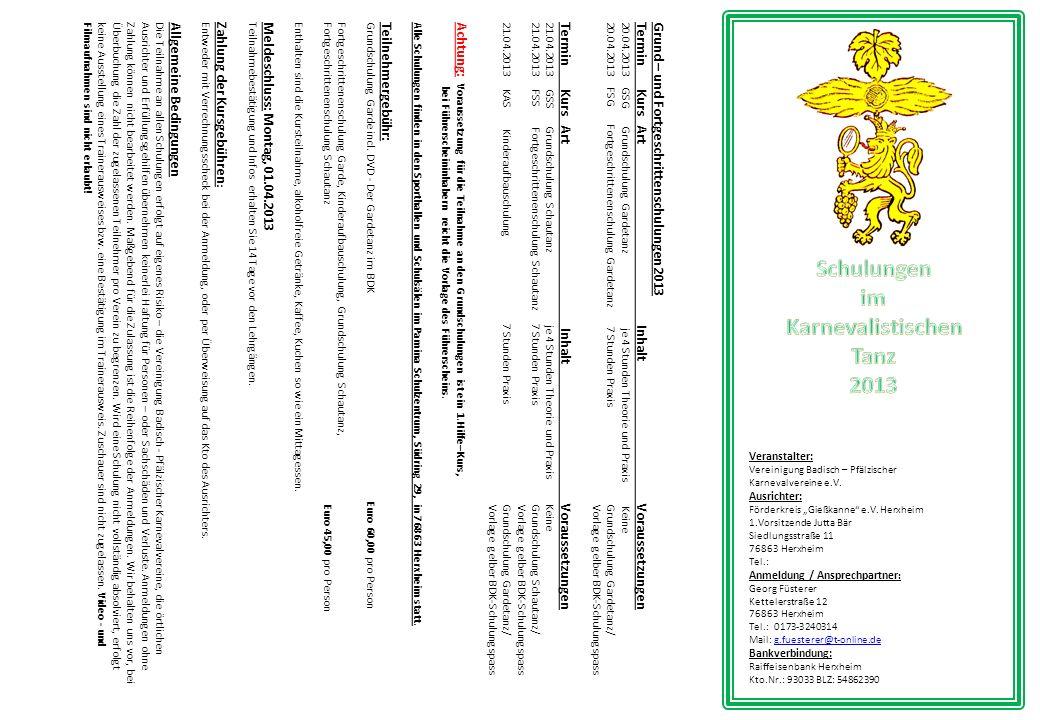 Grund – und Fortgeschrittenschulungen 2013 Termin Kurs Art Inhalt Voraussetzungen 20.04.2013 GSG Grundschulung Gardetanz je 4 Stunden Theorie und Prax
