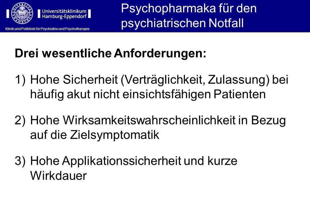 Klinik und Poliklinik für Psychiatrie und Psychotherapie Psychopharmaka für den psychiatrischen Notfall Drei wesentliche Anforderungen: 1)Hohe Sicherh
