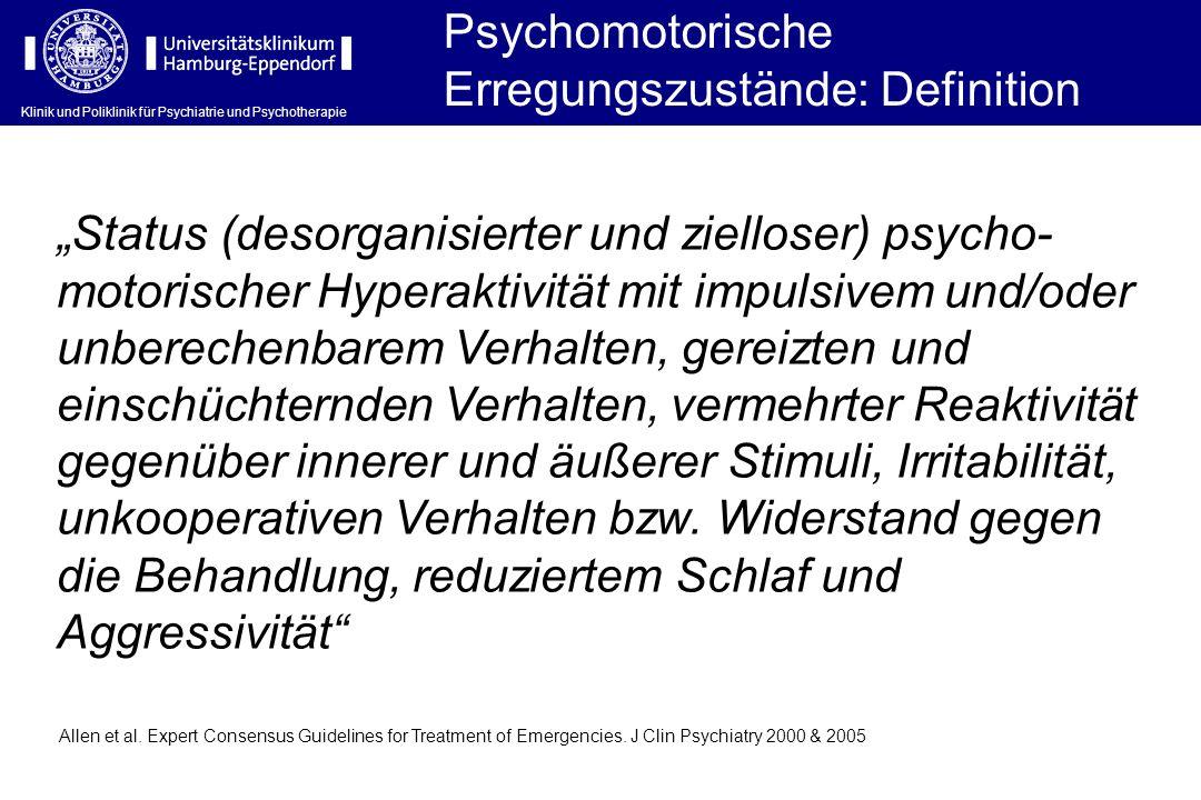 Status (desorganisierter und zielloser) psycho- motorischer Hyperaktivität mit impulsivem und/oder unberechenbarem Verhalten, gereizten und einschücht