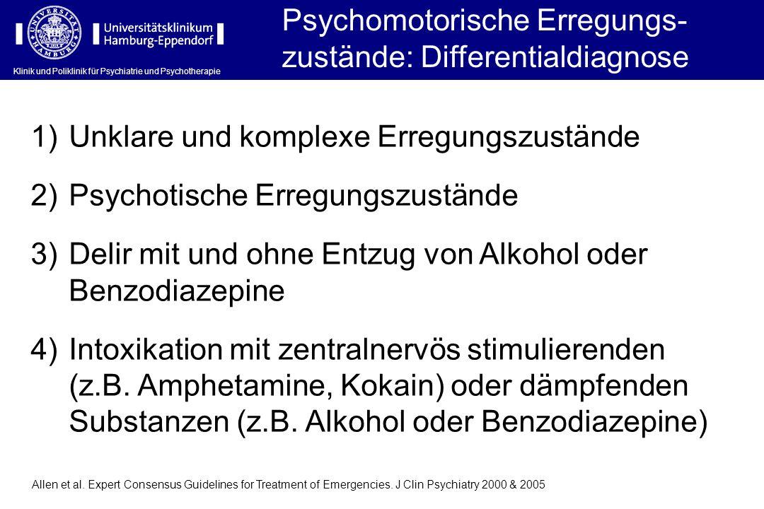 Klinik und Poliklinik für Psychiatrie und Psychotherapie Psychomotorische Erregungs- zustände: Differentialdiagnose 1)Unklare und komplexe Erregungszu