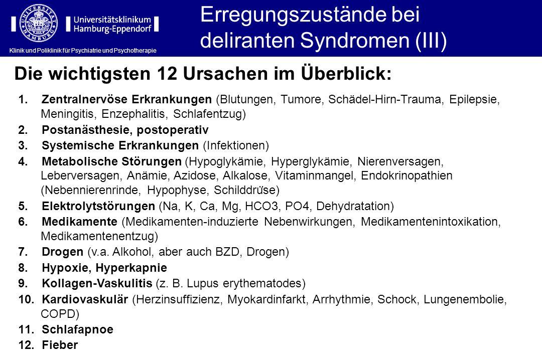 Klinik und Poliklinik für Psychiatrie und Psychotherapie Erregungszustände bei deliranten Syndromen (III) Die wichtigsten 12 Ursachen im Überblick: 1.