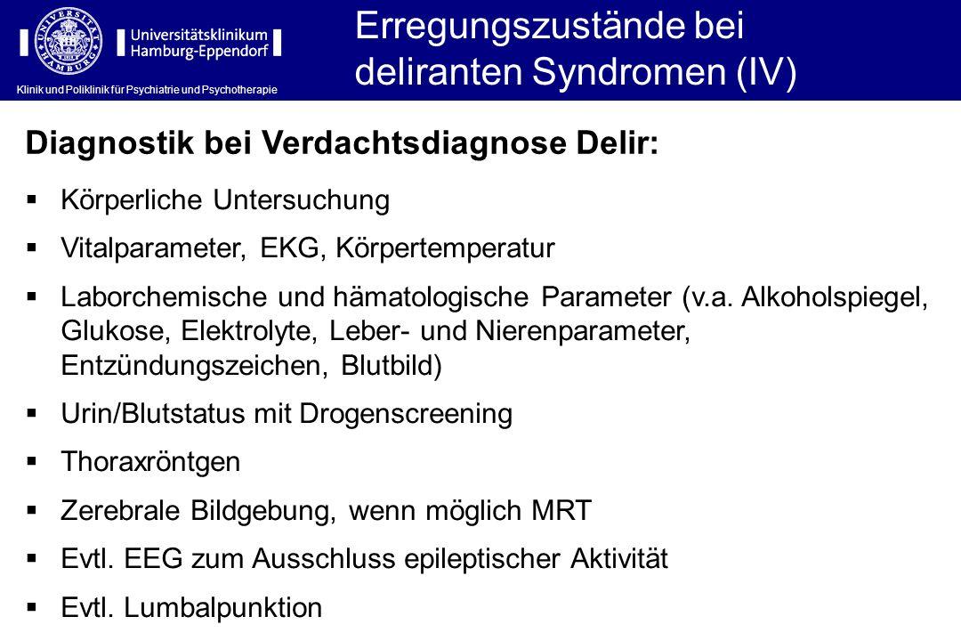 Klinik und Poliklinik für Psychiatrie und Psychotherapie Erregungszustände bei deliranten Syndromen (IV) Körperliche Untersuchung Vitalparameter, EKG,