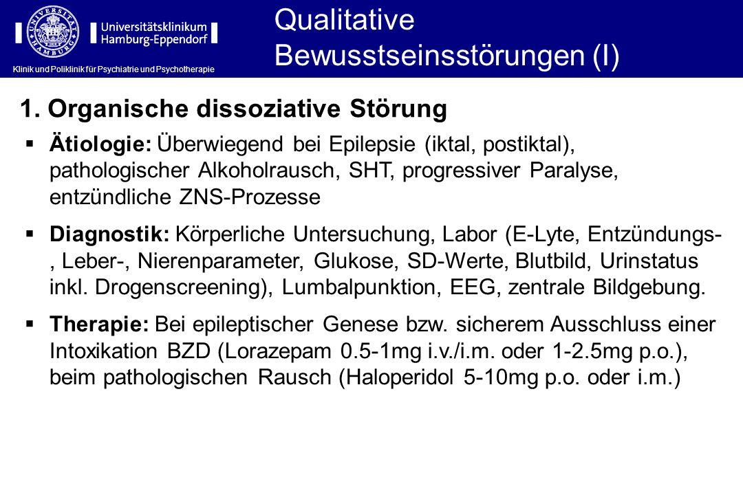 Klinik und Poliklinik für Psychiatrie und Psychotherapie Qualitative Bewusstseinsstörungen (I) 1. Organische dissoziative Störung Ätiologie: Überwiege