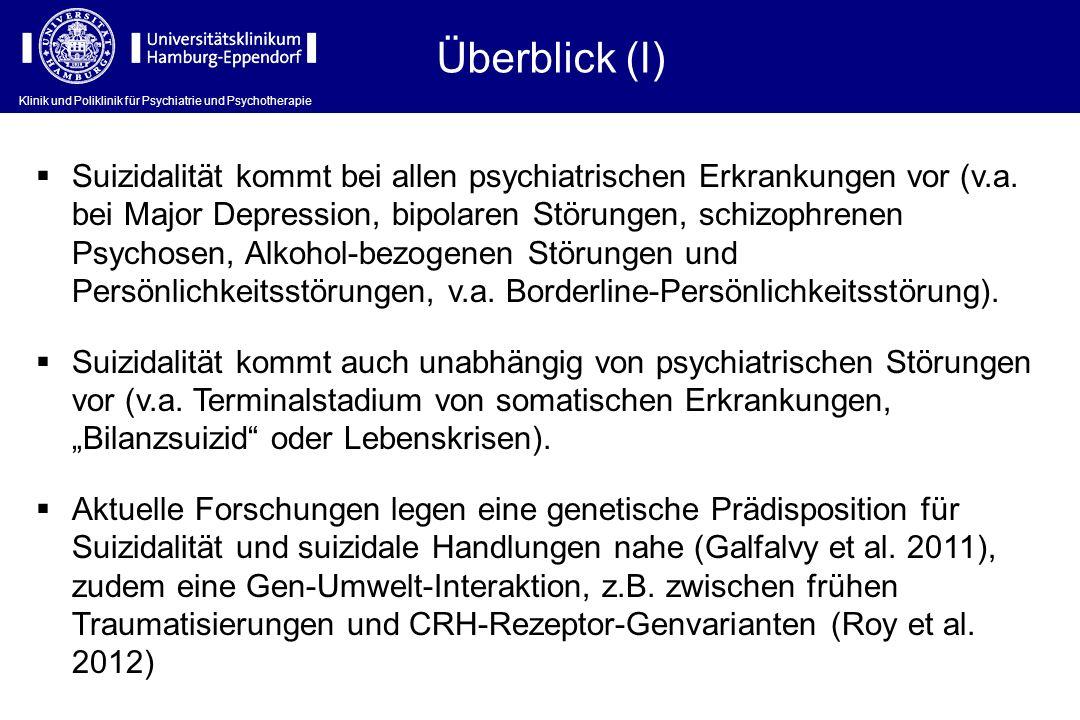 Überblick (I) Suizidalität kommt bei allen psychiatrischen Erkrankungen vor (v.a. bei Major Depression, bipolaren Störungen, schizophrenen Psychosen,