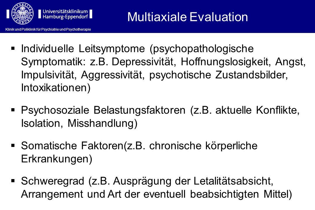 Klinik und Poliklinik für Psychiatrie und Psychotherapie Multiaxiale Evaluation Individuelle Leitsymptome (psychopathologische Symptomatik: z.B. Depre