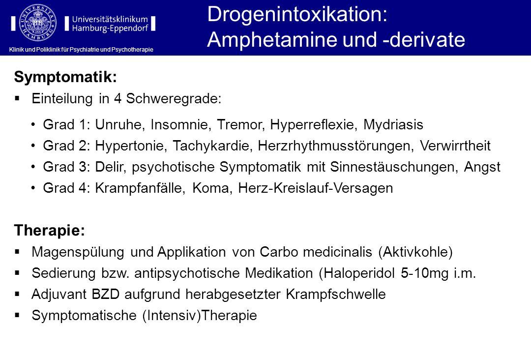 Klinik und Poliklinik für Psychiatrie und Psychotherapie Symptomatik: Drogenintoxikation: Amphetamine und -derivate Einteilung in 4 Schweregrade: Ther