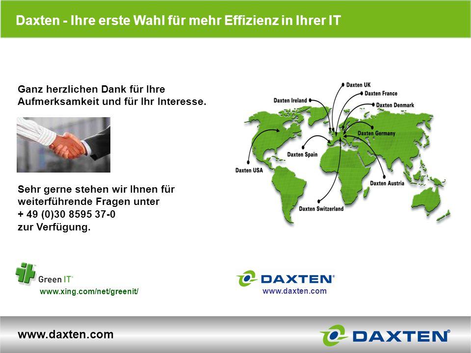 www.daxten.com Daxten - Ihre erste Wahl für mehr Effizienz in Ihrer IT Ganz herzlichen Dank für Ihre Aufmerksamkeit und für Ihr Interesse. Sehr gerne