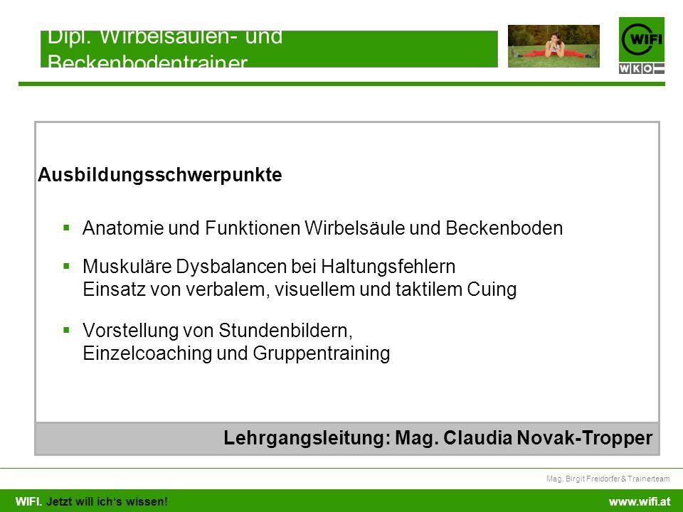 WIFI. Jetzt will ichs wissen! Mag. Birgit Freidorfer & Trainerteam www.wifi.at Anatomie und Funktionen Wirbelsäule und Beckenboden Muskuläre Dysbalanc